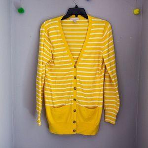 Banana Republic yellow and white striped cardigan